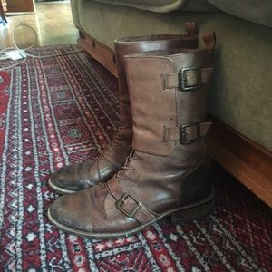 Distressed Brown Vince Camuto Motorcycle Boots
